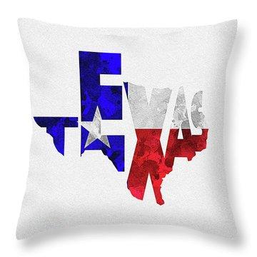 Texas Typographic Map Flag Throw Pillow