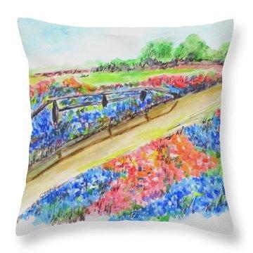 Texas Wild Flowers Throw Pillow