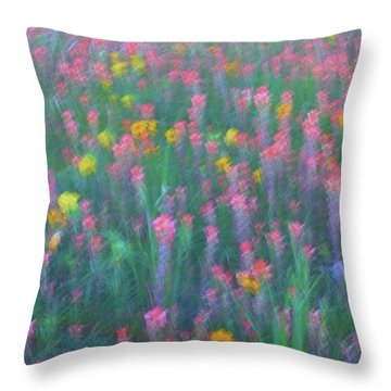 Texas Wildflowers Abstract Throw Pillow