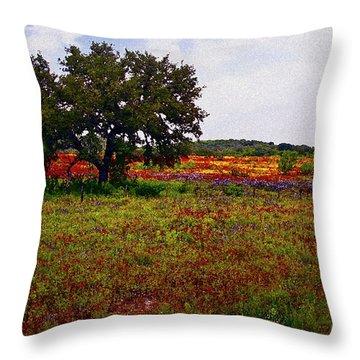 Texas Wildflowers Throw Pillow by Tamyra Ayles