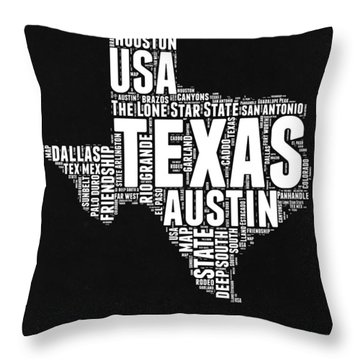 Texas Word Cloud Black And White Map Throw Pillow
