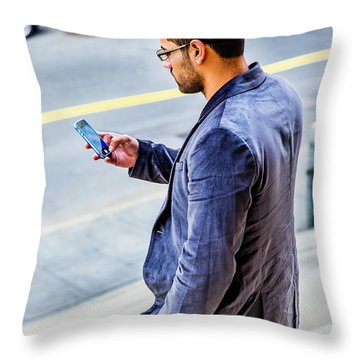 Man Texting Throw Pillow