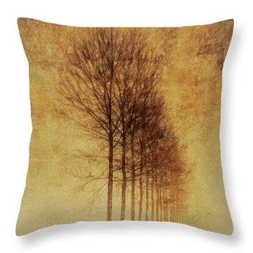 Throw Pillow featuring the mixed media Textured Eerie Trees by Dan Sproul