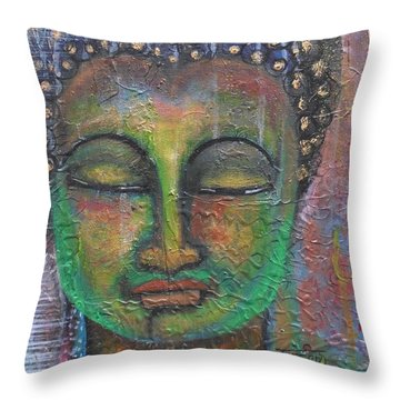 Throw Pillow featuring the painting Textured Green Buddha by Prerna Poojara
