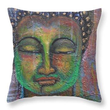 Textured Green Buddha Throw Pillow