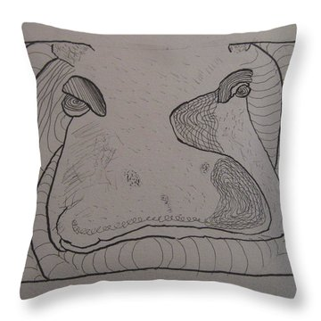 Textured Hippo Throw Pillow