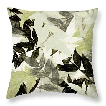 Throw Pillow featuring the digital art Textured Leaves Abstract By Kaye Menner by Kaye Menner