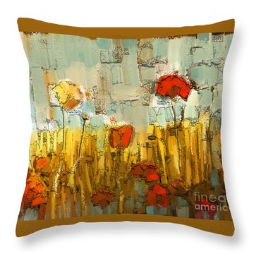 Throw Pillow featuring the mixed media Textured Poppies by Carrie Joy Byrnes