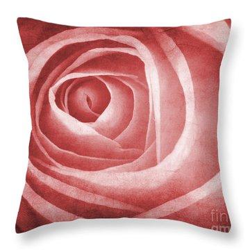 Textured Rose Macro Throw Pillow by Meirion Matthias