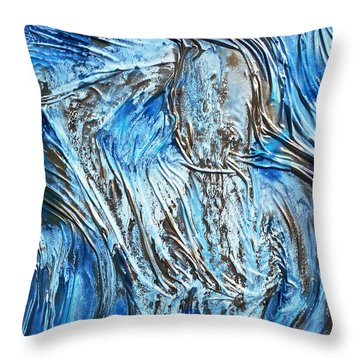 Textured Woman Posing Throw Pillow by Angela Stout