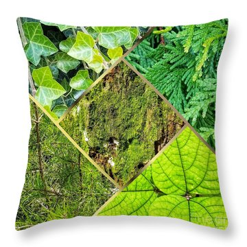 Textures In Shades Of Green Throw Pillow