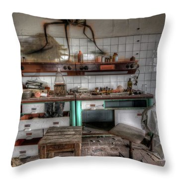 Throw Pillow featuring the digital art Th Mad Scientist  by Nathan Wright