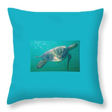Throw Pillow featuring the painting Thaddeus The Turtle by Erika Swartzkopf