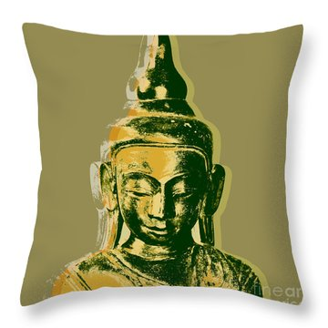 Throw Pillow featuring the digital art Thai Buddha #4 Pop Art Warhol Style Print.  by Jean luc Comperat