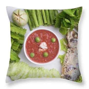 Throw Pillow featuring the photograph Thai Chili Paste by Atiketta Sangasaeng