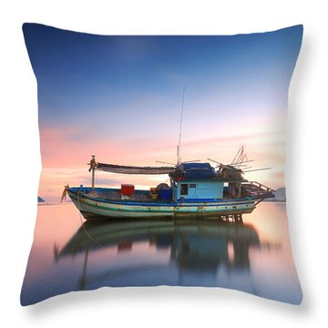 Wooden Boat Throw Pillows