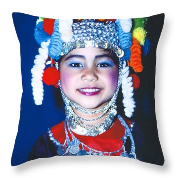 Throw Pillow featuring the photograph Thai Girl Traditionally Dressed by Heiko Koehrer-Wagner