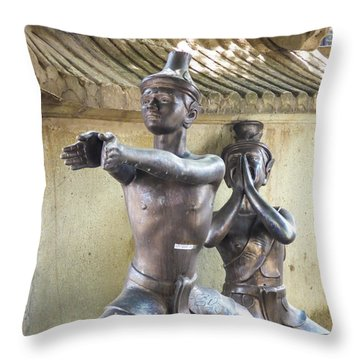 Thai Yoga Statues At Famous Wat Pho Temple Throw Pillow