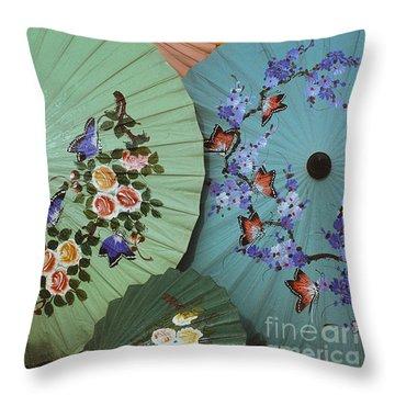 Thailand Parasols Abstract - Blue Thai  Parasols Throw Pillow