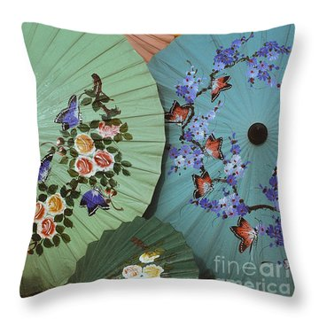 Thailand Parasols Abstract - Blue Thai  Parasols Throw Pillow