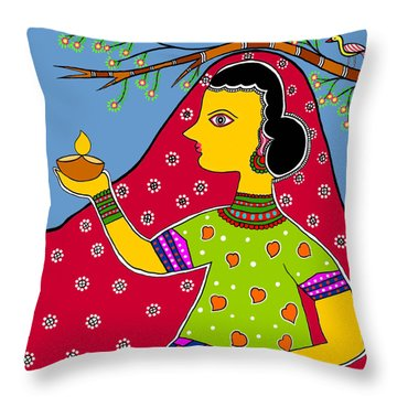 Thamasoma Jyothirgamaya Throw Pillow by Latha Gokuldas Panicker
