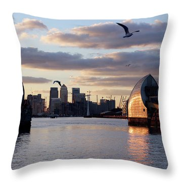 Thames Barrier And Seagulls Throw Pillow
