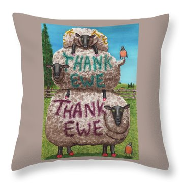 Thank Ewes Throw Pillow