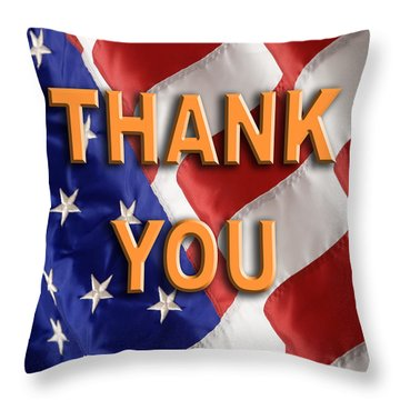 Thank You American Flag Throw Pillow