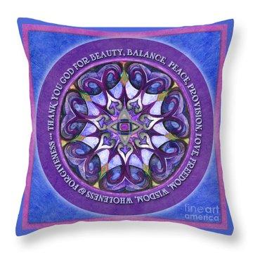 Thank You God Mandala Prayer Throw Pillow