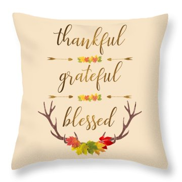 Throw Pillow featuring the digital art Thankful Grateful Blessed Fall Leaves Antlers by Georgeta Blanaru