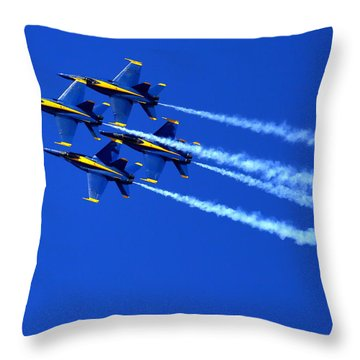 Thanks Goodness For That Fourth Dimension As A Boeing 767 Transitions Above The Box. Throw Pillow