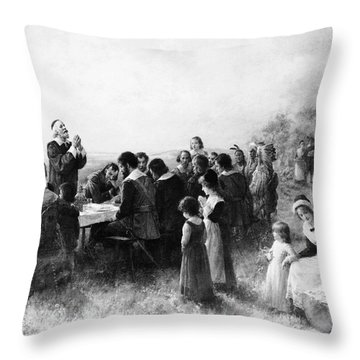 Thanksgiving At Plymouth, Massachusetts Throw Pillow