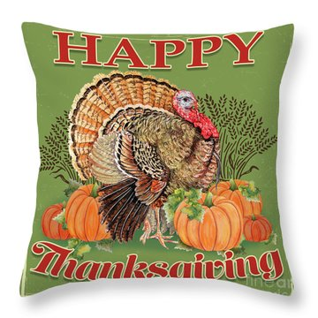 Throw Pillow featuring the painting Thanksgiving-b by Jean Plout
