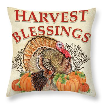 Throw Pillow featuring the painting Thanksgiving-e by Jean Plout