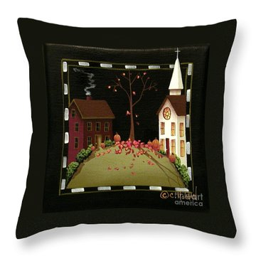 Thanksgiving In Kirkwood Village  Throw Pillow by Catherine Holman