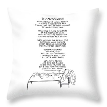 Throw Pillow featuring the drawing Thanksgiving by John Haldane