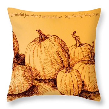 Thanksgiving Pumpkins Throw Pillow by Deborah Dendler