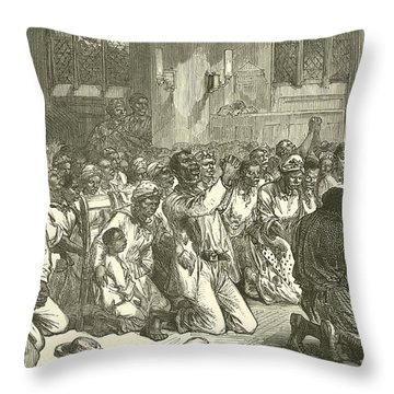 Thanksgiving Service At Midnight For The Emancipation Of The Slaves Throw Pillow