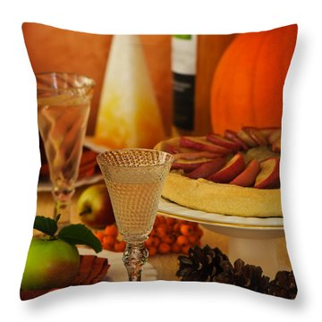 Thanksgiving Table Throw Pillow by Amanda Elwell