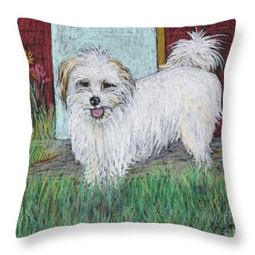 That Little White Dog Throw Pillow by Reb Frost