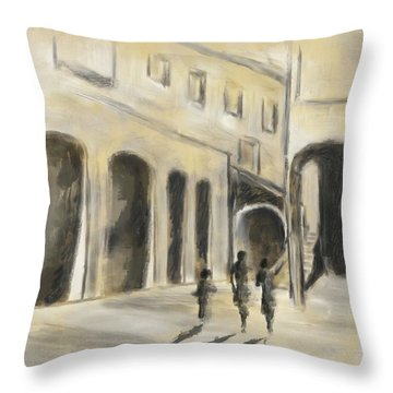 Throw Pillow featuring the mixed media That Old House by Eduardo Tavares