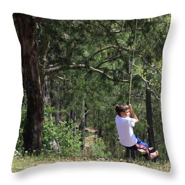 Throw Pillow featuring the photograph That Ole' Rope Swing by Kim Henderson