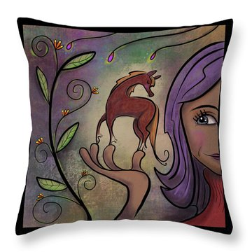 Throw Pillow featuring the painting That Pony's A Hnadfull by Marti McGinnis