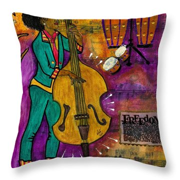 That Sistah On The Bass Throw Pillow by Angela L Walker