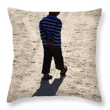 Throw Pillow featuring the photograph That Store Detective Walk  by Jez C Self