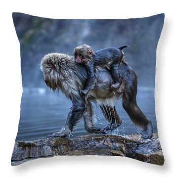 Throw Pillow featuring the photograph That Was A Hot Bath. Now I Gotta Hold On Tight. by Peter Thoeny