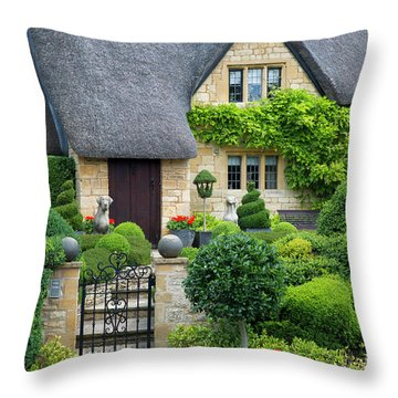 Throw Pillow featuring the photograph Thatch Roof Cottage Home by Brian Jannsen