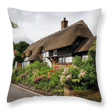 Thatched Cottages In Micheldever Throw Pillow