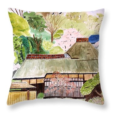 Thatched Japanese House Throw Pillow