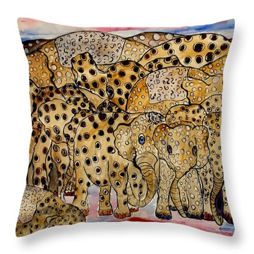 That's Alot Of Elephants Throw Pillow